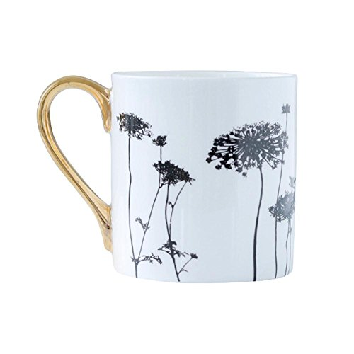 Joint Victory Bone China Mugs - 14 Ounce Applique Patterns Porcelain Ceramics Cup with Gold Handle for Coffee,Tea,Cocoa,Milk and Water (Dandelion) -