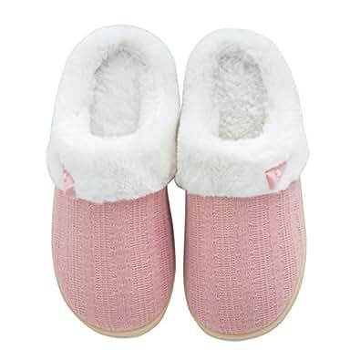 Comfort Memory Foam Slippers,Soft Coral Velvet Short Plush Lining Slip-on Memory Foam Clog Slipper,Indoor/Outdoor Anti-Skid Rubber Sole,for Men and Women (9-10, Pink)