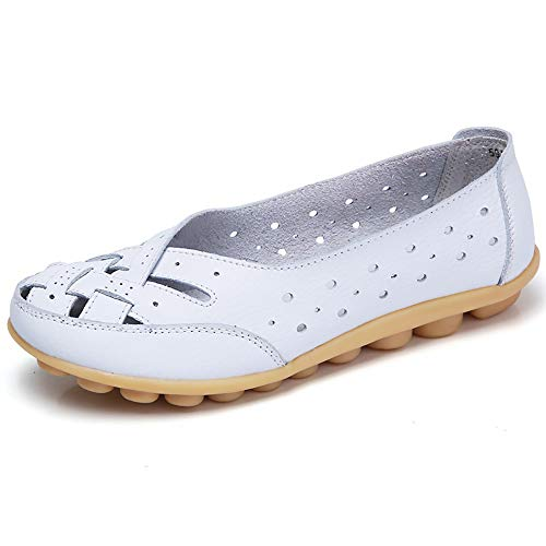 (Aunimeifly Mom Comfortable Shoes Women Peas Boat Shoe Lady Criss-Cross Band Flats Hollow Out Soft Sandals White )