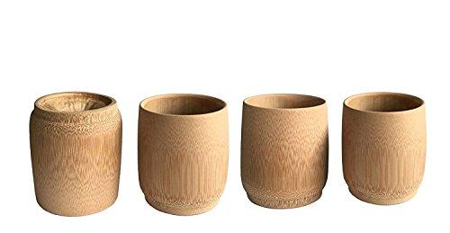 KCHAIN 4pcs Drinking Cups for Sake Coffee Tea (Bamboo) by KCHAIN