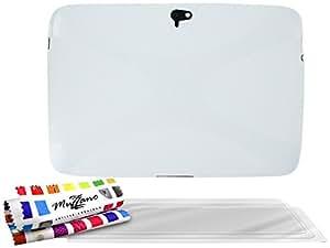 """Carcasa Flexible Ultra-Slim GOOGLE NEXUS 10 [""""Le X"""" Premium] [Blanco] de MUZZANO + 3 Pelliculas de Pantalla """"UltraClear"""" + ESTILETE y PAÑO MUZZANO REGALADOS - La Protección Antigolpes ULTIMA, ELEGANTE Y DURADERA para su GOOGLE NEXUS 10"""