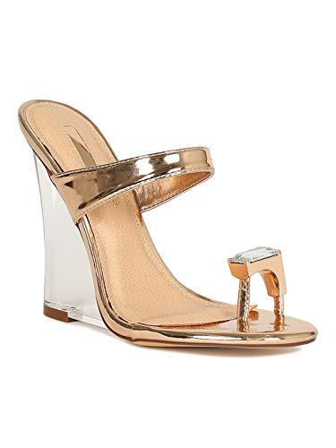 Alrisco Women Rhinestone Toe Ring Mule Clear Wedge Heel Sandal RH49 - Rose Gold Metallic (Size: 9.0)