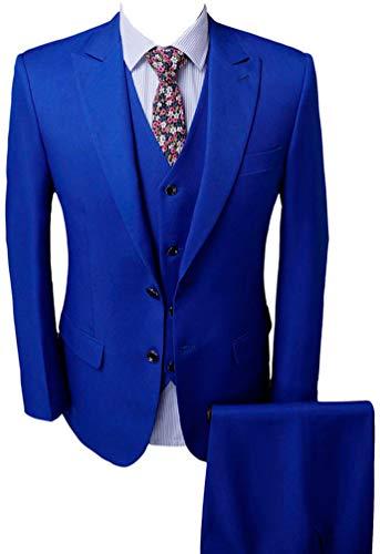 Men's Royal Blue Groom Tuxedos 3 PC Men Suits 2 Buttons Wedding Suits for Men Royal Blue 38 Chest / 32 Waist
