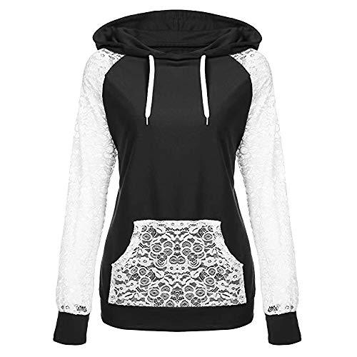 Most Popular! Sunyastor Womens Lace Patchwork Hooded Sweatshirt,Winter Warm Pullover Hoodie Coat Outerwear Tops ()