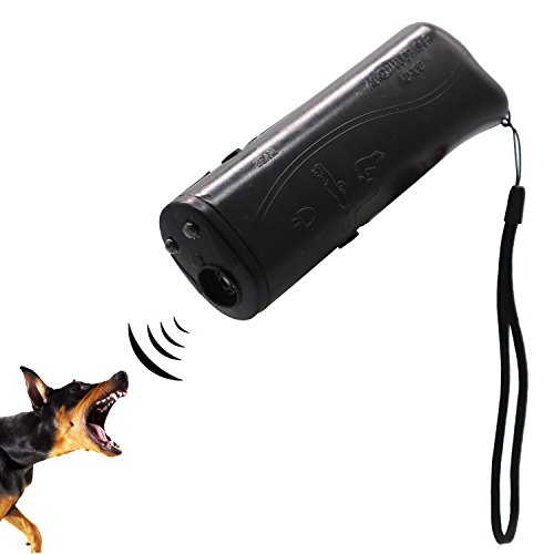 (Ruri's Ultrasonic Dog Repeller Trainer Device 3 in 1 Anti Barking Stop Bark Control Trainer LED Flashlight)