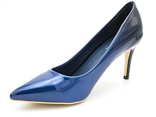 Fashion Scarpe Donna Bleu Tacco 8cm Shoes Col noir rABHrq