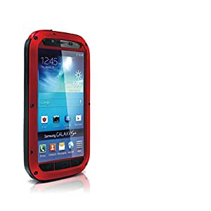 Aluminum Metal Gorilla Glass Shock/water Proof Case Cover for Samsung Galaxy S4 (Red&Black &Red)