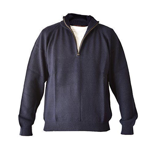 Alpaca Basics Men's Handmade 100% Alpaca Wool Half Zip Sweater (Navy Blue, Large)