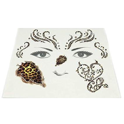 Creativa Leopardo tatuaje temporal, adhesivo para la cara, papel ...