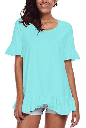 Nuovo turchese volant Trim a maniche corte camicia donna estate camicia top casual Wear taglia UK 12EU 40
