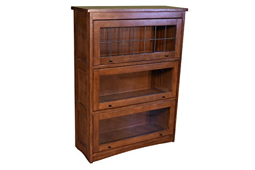 Mission Craftsman Quarter Sawn Oak 3 Stack Leaded Glass Barrister Bookcase