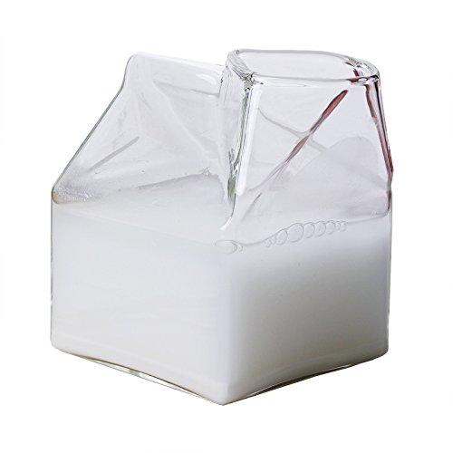 (Mini Hand-Blown Glass Milk Creamer Box, Rocaware 12 Ounce Milk Glass Cup Container)