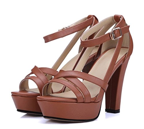 de JAZS® de Elegante Cabeza Redonda Marrón Cuero Sandalias Zapatos Moda Style Grueso de Moda New Sweet Claro Zapatos de Verano de Sexy Genuino Tacón de Ms Fashion Cuero de 4r4qwxS