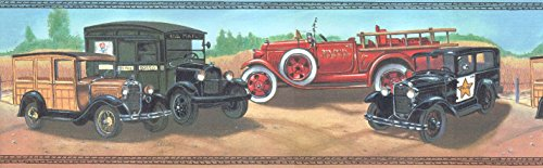 Ford Model A Cars Fire Truck NYFD Firetruck Police Wallpaper Wall Border (Border Truck Wallpaper Fire)