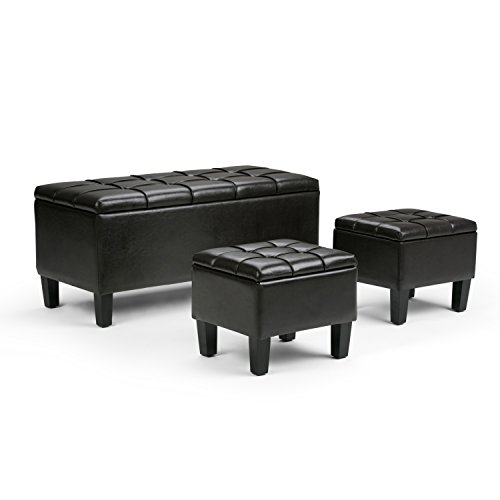 Simpli Home Dover 3-Piece PU Leather Rectangular Storage Ottomans, Espresso Brown