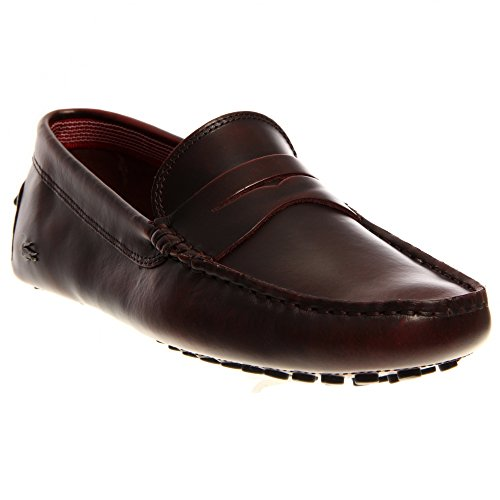 Lacoste Concours 14 Moccasin Loafer Shoe - Dark Burgundy - Mens - (Authentic Mens Leather Loafers Shoes)