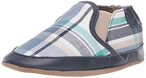 Robeez Boys' Slip On Soft Soles Crib Shoe, Blue Plaid, 18-24 Months