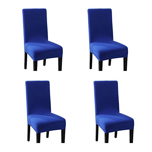 Pinji 4PCS Spandex Stretch Chair Cover Dining Room Home Decor Removable Washable Slipcover Protector Royal Blue