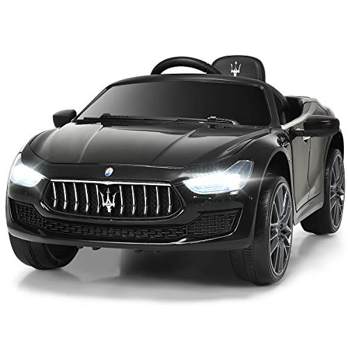 Costzon Ride on Car, Licensed Maserati Gbili 12V Rechargeable Battery Powered Electric Car w/ 2 Motors, Parental Remote Control & Manual Modes, LED Lights, MP3, Black (Good Remote Control Car For 5 Year Old)
