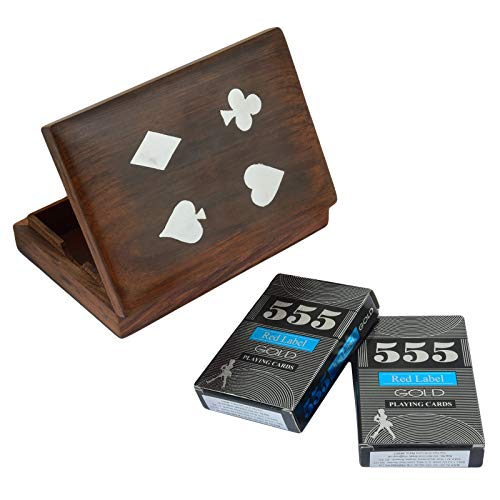 (Fine Craft India Playing Card Case Holder Double Deck for Playing Cards Handmade Wooden Brown Decorative Storage Box with 2 Playing Card Inside)