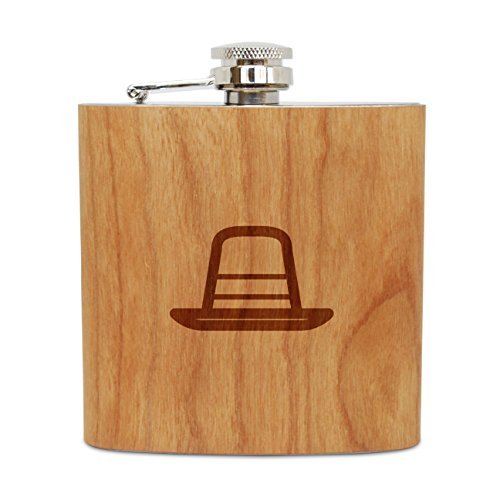WOODEN ACCESSORIES COMPANY Cherry Wood Flask With Stainless Steel Body - Laser Engraved Flask With Puritan Hat Design - 6 Oz Wood Hip Flask Handmade In USA]()