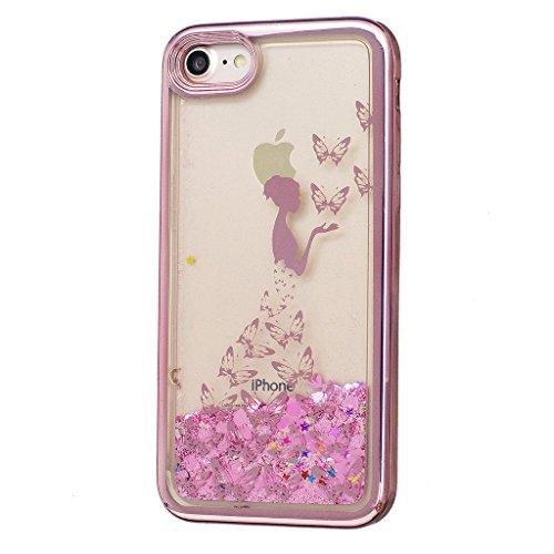 Crisant Flüssig Fließende Bling Schmetterling Mädchen Design schutzhülle Hülle für Apple iPhone 7 4.7'' (4,7''),Netter kleiner Bär Luxury Tasche Schutz weich Silikon TPU Transparent Back Handy Case Co
