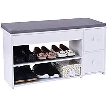 Amazon.com: Entry Bench Shoe Rack 2-Tier Shoe Bench with ...