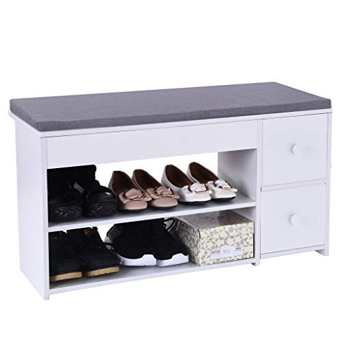 Beyonds Entryway Shoe Storage Bench, White Shoes Shelf Rack with 2 Drawers & Padded Seat Cushion, Hallway Bathroom Wooden Cabinet