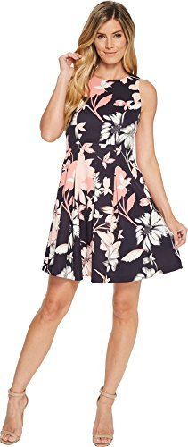 Pleated Dress Vince (Vince Camuto Women's Sleeveless Fit and Flare Dress With Pleated Skirt Navy Multi 14)