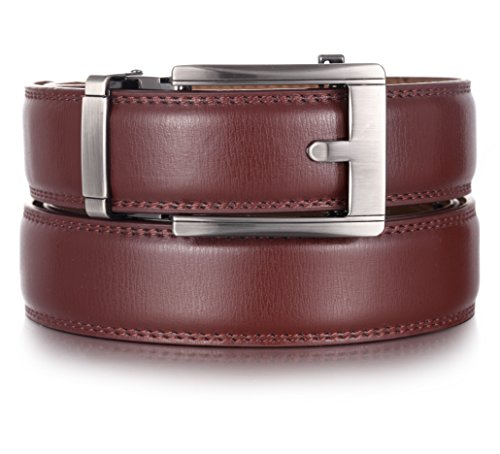 (Marino Ratchet Click Belts for Men - Mens Comfort Genuine Leather Dress Belt - Automatic Buckle - Brown - Adjustable from 28