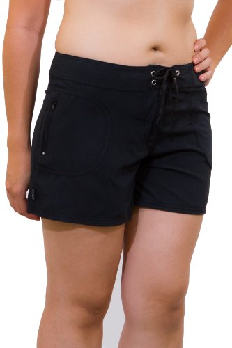Solei Junior's Solid (NBK) Hip Riding Boardshort with Zipper Front Side Pockets 7/8 Black