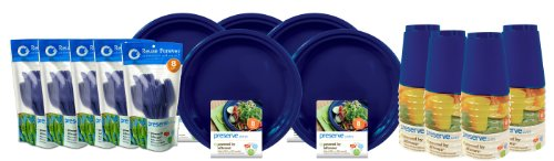 Preserve On the Go Tableware Set, 120 Pieces, Midnight Blue