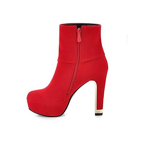 AgooLar Damen Reißverschluss Hoher Absatz Stiefel mit Beschlagene Strass Rot