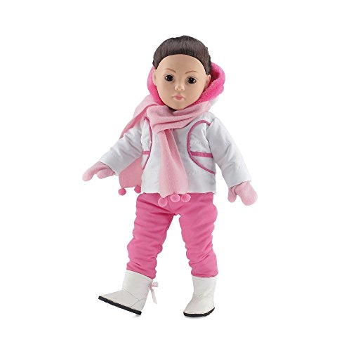 18 Inch Doll Clothes | Outerwear Winter Snow Outfit, Including Pink Hooded Coat and Bib-Style Pants, Long Sleeved T-Shirt, Pink Scarf and Matching Mittens, and Snow Boots | Fits American Girl Dolls