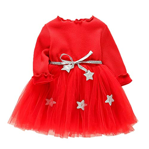Toddler Kids Baby Girls Long Sleeve Star Clothes Party Princess Dresses