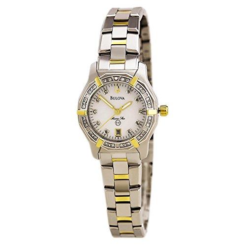 Bulova Womens Stainless Steel & Diamond Watch