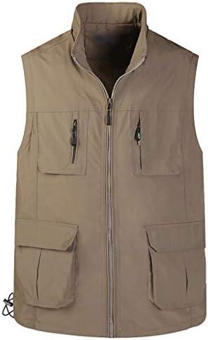 QIQIDEDIAN 釣りベスト 春と夏のベストモデル中年男性屋外レジャー釣りベストマルチポケット男性写真ベストスタンドカラー薄いセクションベスト (Size : 4XL)