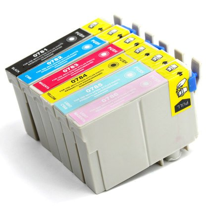 T078620 Compatible Light (6 Pack - Toners & More ® Remanufactured Inkjet Cartridge Set for Epson T078 #78, T078120 Black, T078220 Cyan, T078320 Magenta, T078420 Yellow, T078520 Light Cyan, T078620 Light Magenta, Compatible)