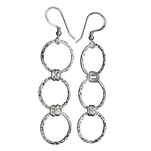 Sterling Silver Flat Hammered Circle Links Long Earrings ()