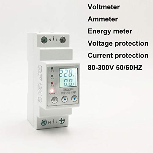63A 110V 230V Din Rail Adjustable Over Under Voltage Protective Device Protector Current Limit Protection Voltmeter Energy Meter