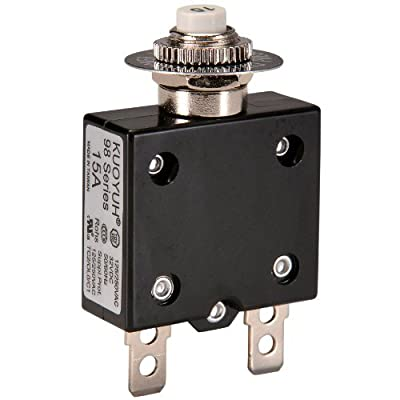 "NTE Electronics R58-15A Series R58 Thermal Circuit Breaker, 250"" Quick Connect Terminal, 0.010 Ohms Resistance, 15 Amp"
