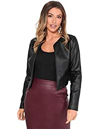 Women PU Leather Cropped Jacket Long Sleeve Bolero