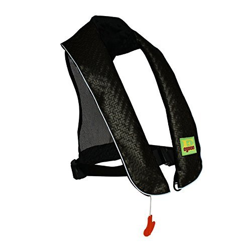 Eyson Inflatable Life Jacket Inflatable Life Vest Deluxe Leather PFD Manual (Black) (Best Life Jacket For Canoeing)