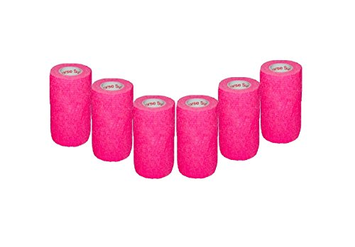 "3"" Medical Wrap Tape Bulk, Self Adherent Rap Tape, Self Adhering Stick Bandage, Self Grip Roll, Power Flex Wrap - 3 inches x 15' Feet - 6 Rolls - Neon Pink by Prairie Horse Supply (Image #2)"