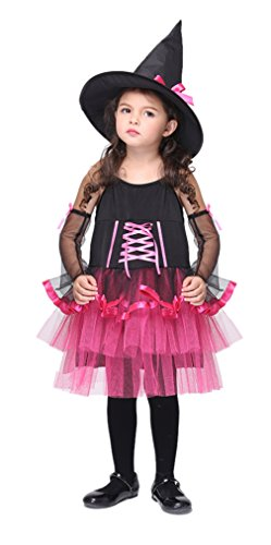 Girls Fairytale Witch Halloween Costumes Child Scary Role Play Cosplay Dress (Medium, Rose)