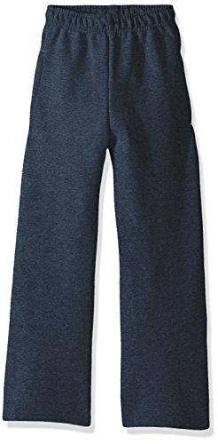 Fruit of the Loom Boys' Big' Fleece Open Bottom Sweatpant, T Heather/Smoke Blue Stripe, Medium