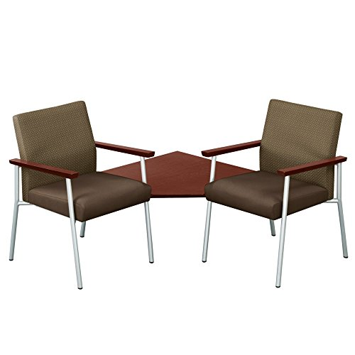 """Uptown Two Seater with Corner Connecting Table Dimensions: 56""""W x 56""""D x 35""""H Seat Dimensions: 20""""Wx19""""Dx19""""H Truffle Fabric Back/Mocha Vinyl Seat/Mahogany Arms"""