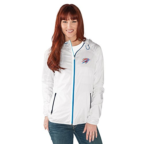 GIII For Her NBA Oklahoma City Thunder Women's Spring Training Light Weight Full Zip Jacket, X-Large, White from GIII For Her