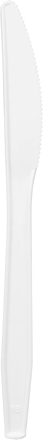 AmazonBasics Plastic Cutlery Knife, Light Weight, White, 1000 Knives