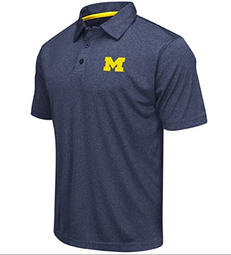 (Colosseum Men's NCAA Heathered Trend-Setter Golf/Polo Shirt-Michigan Wolverines-Heathered Blue-XL)